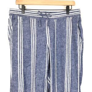Old Navy Pants - Old Navy Women Pant M Pinstripe Linen Blend Lounge